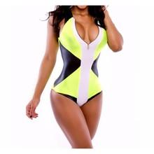 2016 summer style one piece Swimsuit sexy Bodysuit patchwork plus size Swimwear women swim wear swimming Monokini Bathing Suits