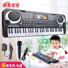 61 keys  musical children's toys electronic keyboard with microphone musical piano baby Children's Christmas day  gift(China (Mainland))
