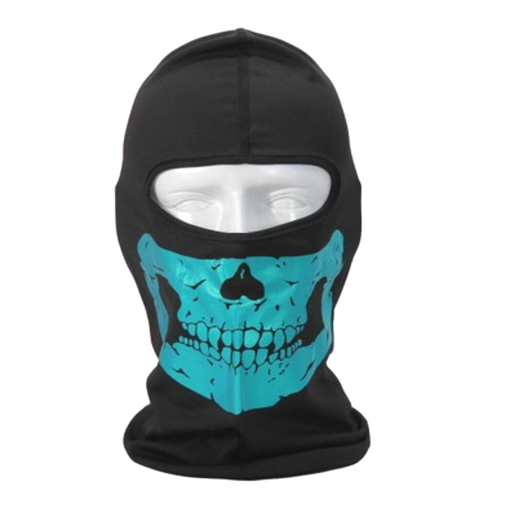 Tactical CS Bicycle Cycling Motorcycle Black&Blue Skull Reflective Balaclava Hat Full Face Mask for Sun UV Hood Neck Protective(China (Mainland))