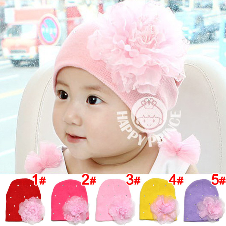 new spring summer 2014 Lovely baby flower set auger turtleneck cap wool hat 0-2 years old - FIREFLY FUTURES STORE store