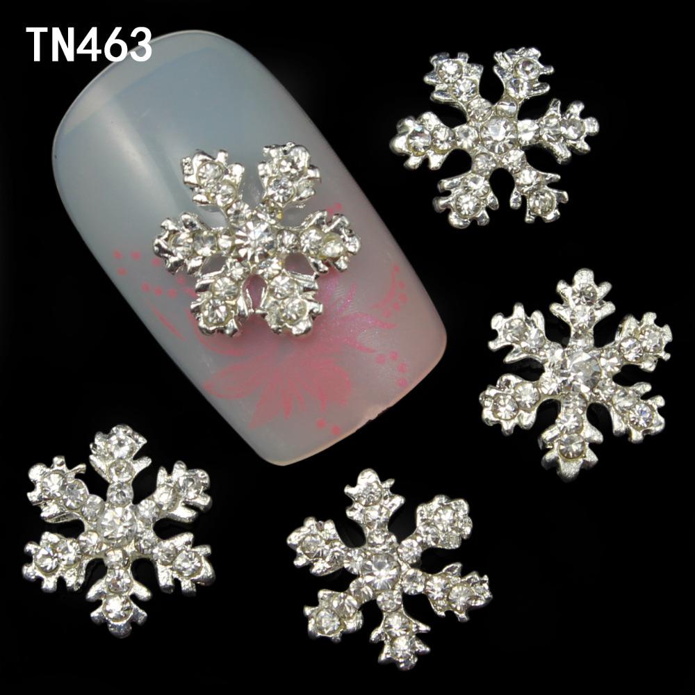 10pcs Alloy 3D Nail Art Stickers White Snowflakes Christmas Glitter Nail Gel Tools DIY Rhinestone & Decoration TN463(China (Mainland))