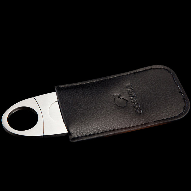 High quality Cigar Cutter 304 Stainless steel Cigar knife New cigar tools with Leather Case(China (Mainland))
