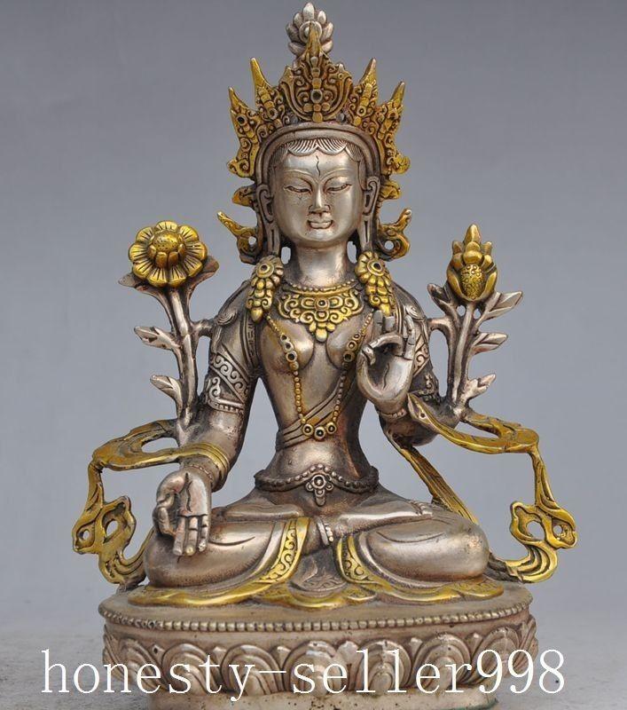 home decor 8 7 tibet silver buddhism gilt copper white tara goddess bodhisattva buddha statue. Black Bedroom Furniture Sets. Home Design Ideas