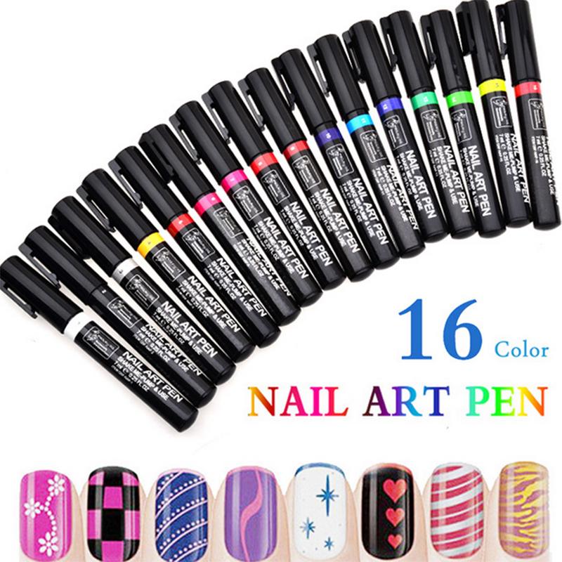 16 Colors 3D Nail Art Pen DIY Nail Decoration Nail Polish Pens Nail Beauty Tools Paint Pens(China (Mainland))