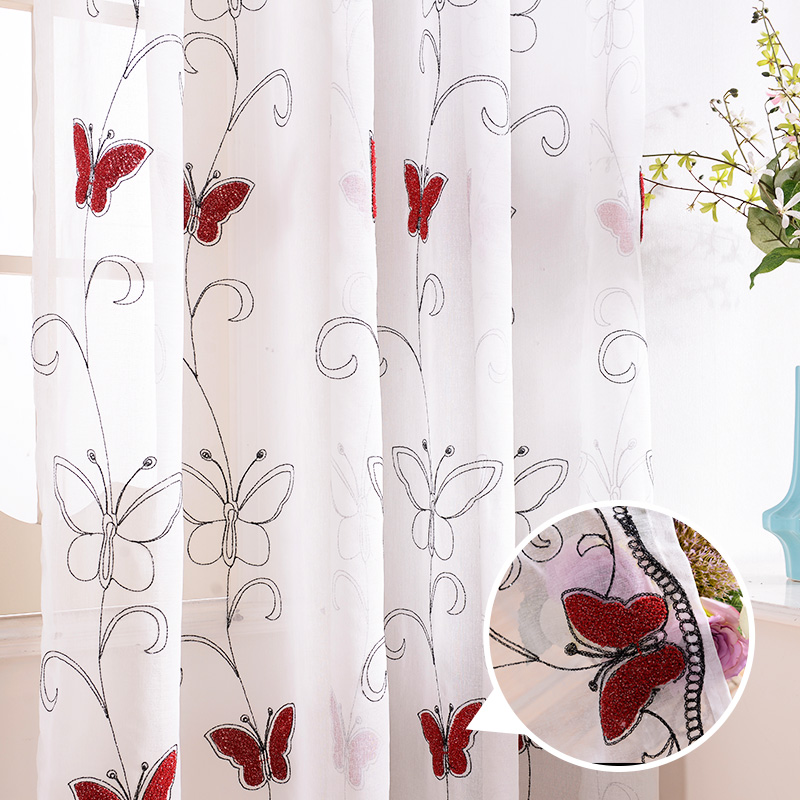 Finel Modern Luxury Embroidered Shaggy Butterfly Sheer Voile Curtains ...