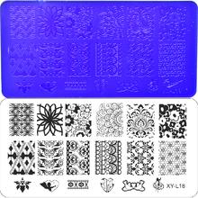 9PCS Flower/Lace/Geometry/Animal Stamping Plates Nail Art Image Square Printing Image Stencils Acrylic 12x6cm Print  XYL01-31(China (Mainland))