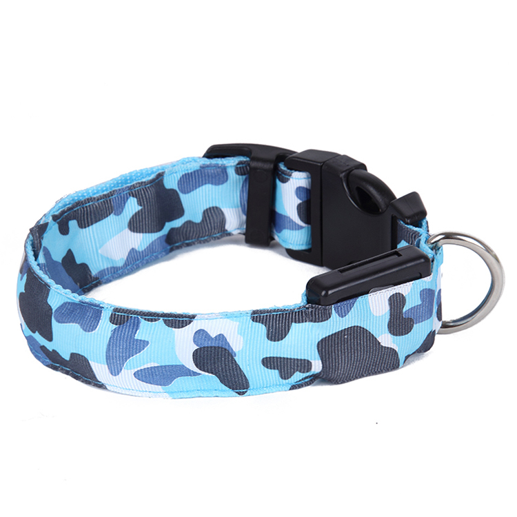LED Dog Collar For Dogs Necklace Light Leads Perro Cachorro Camouflage Barrack Products For Pet Cat Nylon Glowing Dog Collar(China (Mainland))