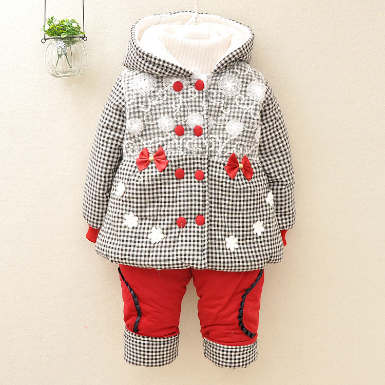 baby set 2015 winter girl ultra thick suit kids Plaid Lace Flower Super warm two piece sets Hooded Cotton-padded clothes(China (Mainland))