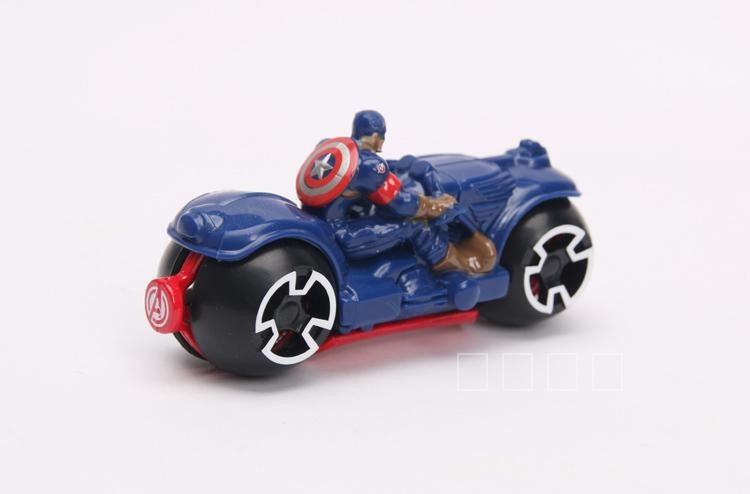New Creative Toy Riding Motorcycle the Avengers Captain America Iron Man PVC Action Figure Model Dolls for Children Boy Gifts
