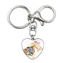 Gemas De Vidro bonito do Animal Keychain Para Bolsa Fox Pingente de Coração de Cristal do Anel Chave Do Carro Chaveiro Animais Clip Art Crianças jóias Presente(China)