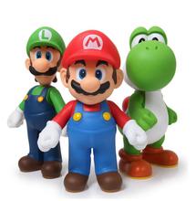 3pcs/set Super Mario Bros Luigi Mario Yoshi Action Figure PVC 12cm Model Doll Kids Toys Gifts