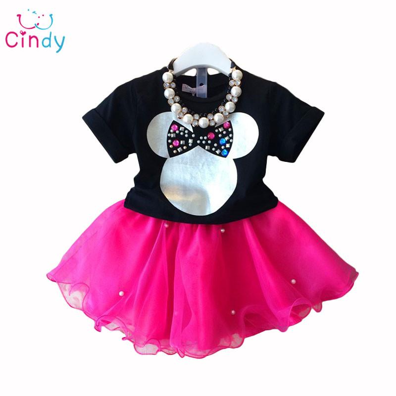 NEW 2015 Baby Girls Sets Girls cartoon Clothing Set T shirts + Skirt Children 2pcs Suit Children clothing dress(China (Mainland))