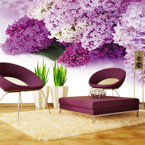 wholesale purple flower mural 3d photo murals 3d wall