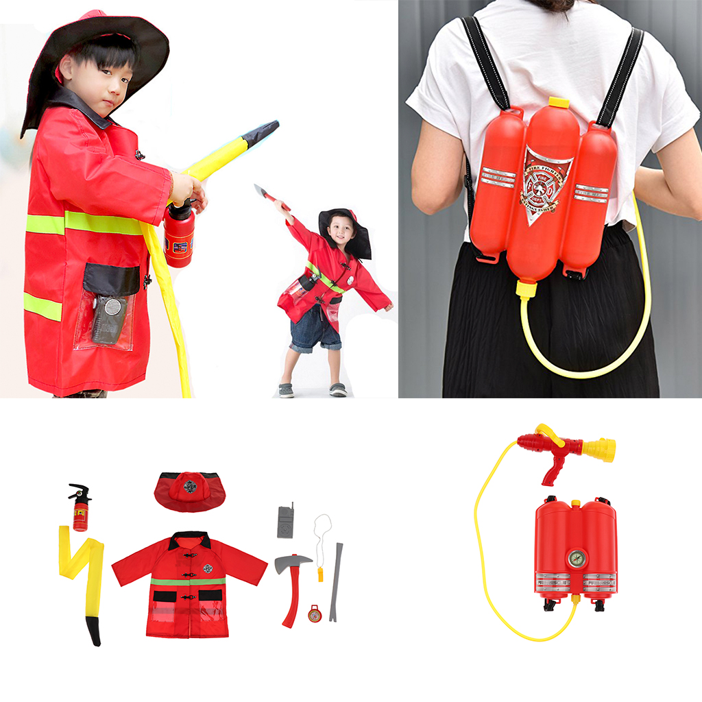 Fun Fire Extinguisher Toy Kid /& Boy Fireman Role Playing Costumes Dress Up
