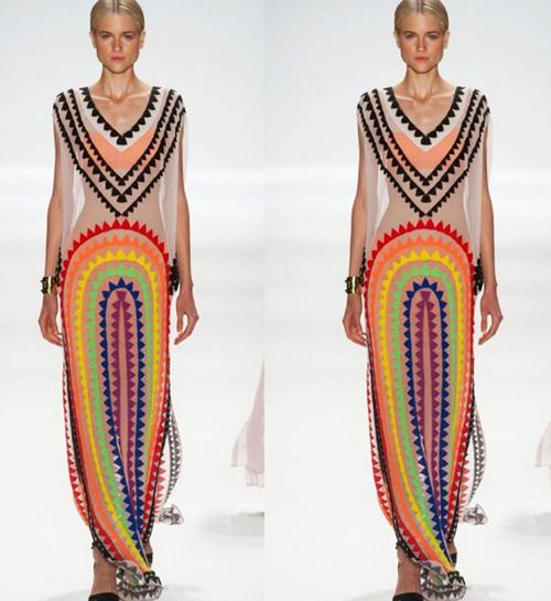 New 2015 mexico desigual dress v neck maxi dresses long catwalk