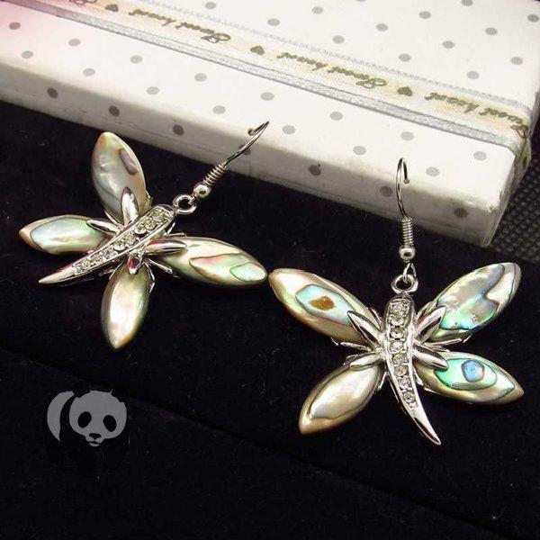 Big Panda Natrual White Mother of pearl Paua Abalone Seashell Silver Dangle Earrings Sea Shell Jewelry BK052(China (Mainland))
