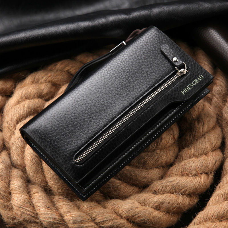 hot sales men's wallet fashion brand zipper leather purse card holder multifunctional business long man clutch wallet for gift(China (Mainland))