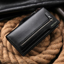 hot sales men's wallet fashion brand zipper leather purse card holder multifunctional business long man clutch wallet for gift