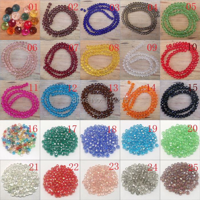 Free Shipping  300pc  String Faceted Glass Crystal  Beads  3*4mm  white, black  17 color  pick   fit wrap bracelet  f401(China (Mainland))