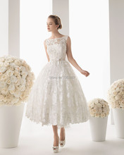 Fashionable Lace Wedding Dress Women Ankle Length Bridal Gown vestido de noiva 2015(China (Mainland))