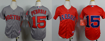 Youth Boston Red Sox #15 Dustin Pedroia YOUNG Kid size S-XL stitched baseball jerseys Accept Mix Order Embroidery logs Hot Sell(China (Mainland))