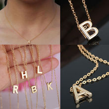 1 PCS Hot Stylist DIY Women Men Lovers Gift Gold Plate Alphabet Letter Name Initial Chain Pendant Necklace Fashion Jewelry(China (Mainland))