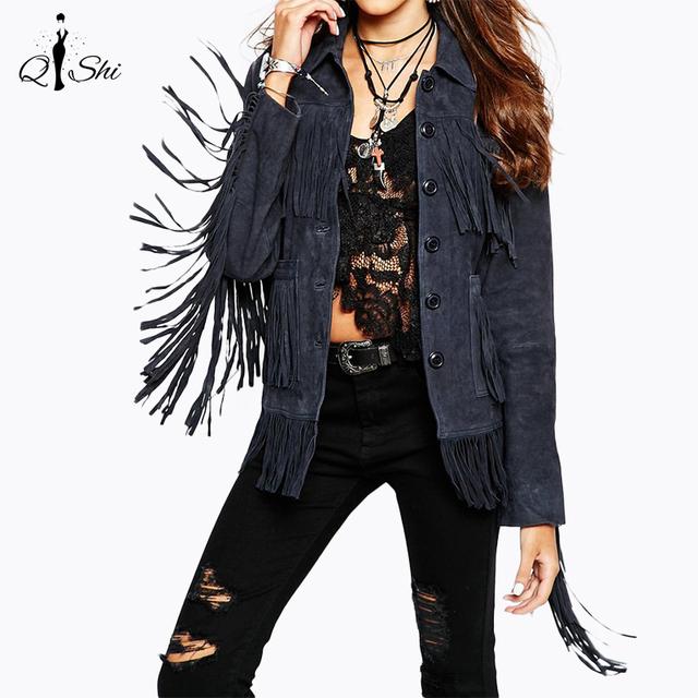 2016 Кистями куртка женская новый шить бахромой замша куртка короткое пальто женщин пальто куртки