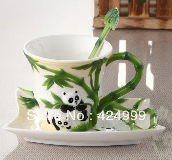 Bone China Ceramic Cup Drinking European Enamel Creative Tea Cup The Panda and Bamboo Franc Painting Fashion Set Free Shipping(China (Mainland))