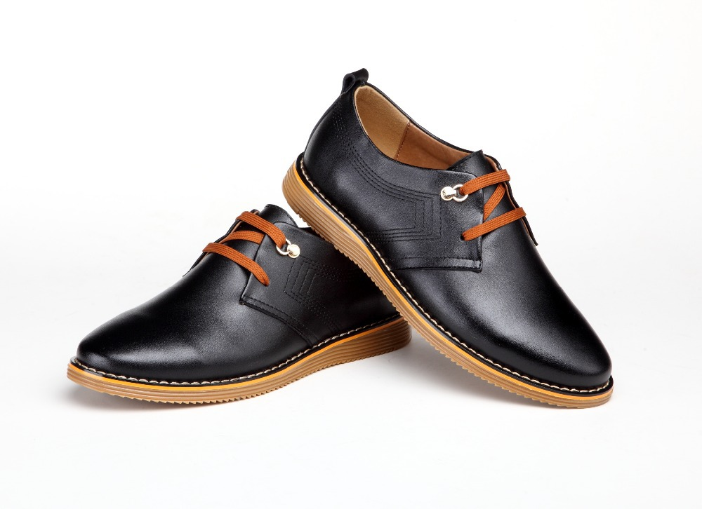 fall new trend men's casual shoes, brand shoes lace, Leather Men's leather - Edelman store