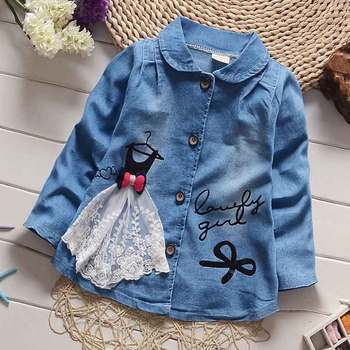 2016 New spring autumn Girls Jackets Coats Baby kids Children Cute Princess lace patch denim single-breasted cardigan S1216