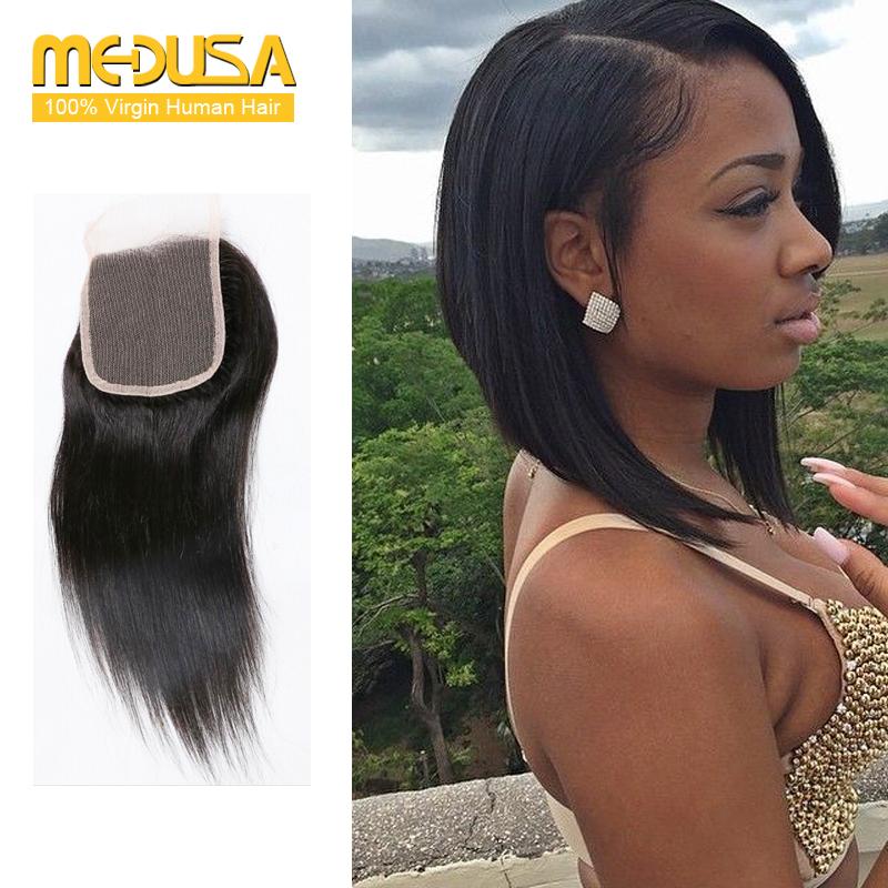 "7A Grade Brazilian Straight Closure 8""-20"" Inch Silk Base Closure Queen Hair Products Brazilian Hair Closures Grace Hair Company(China (Mainland))"