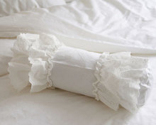 Luxury white lace edge ruffle candy pillow case,wedding 100%cotton girls,french princess home textile cushion/almofadas cover(China (Mainland))