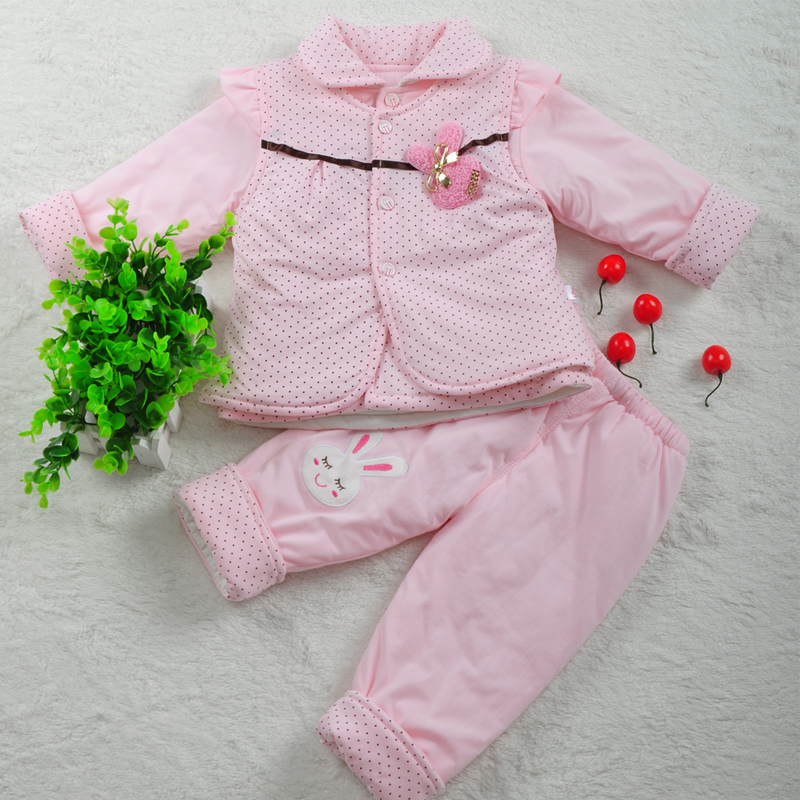 Infants and young children suit three-piece 0-2 years old girl baby clothing fall/winter clothing Neonatal coat + vest, pants(China (Mainland))