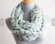 Mint and Gray Chevron and Color Block Infinity Scarf Chunky and Silky Mint Green Scarf Infinity Scarf Loop Scarf