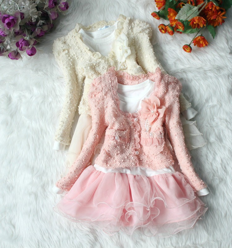 2015 New Autumn Winter Lolita Girl Dress Floral Children`s Dress Kids Dresses For Girls 2Pc/set Coat+Dress Toddler Girl Clothing(China (Mainland))