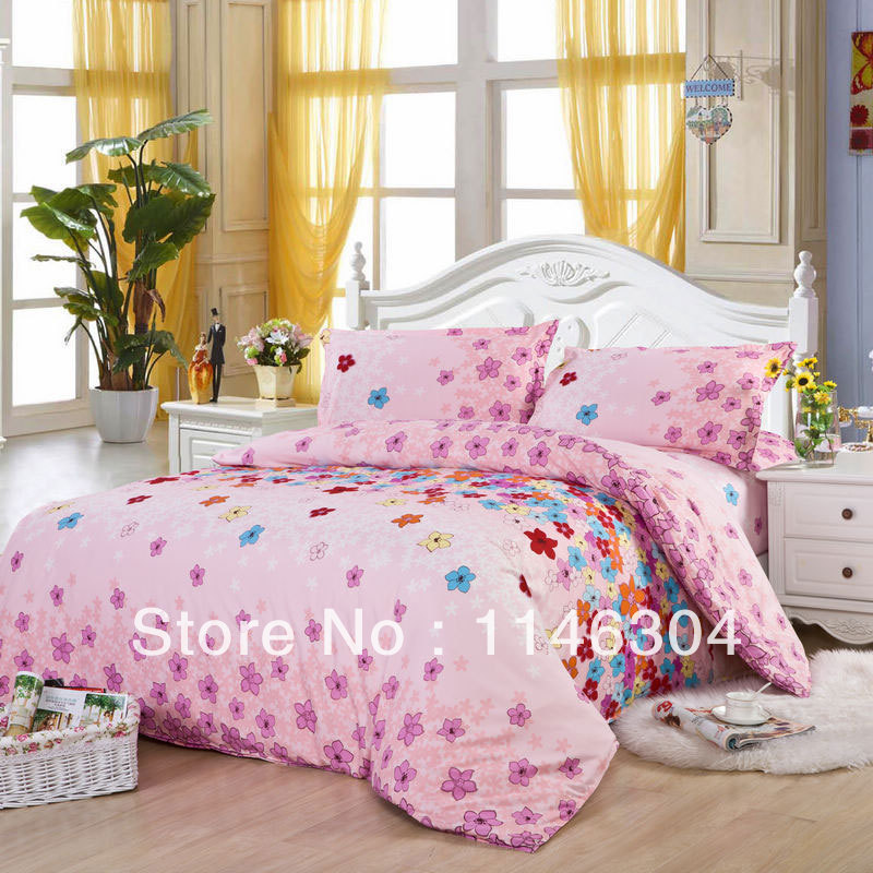 4pcs provence paris fleece fabric bedding set bed in a bag