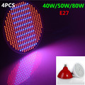 4Pcs Promotion E27 40W 50W 80W AC85 265V Red Blue High Power leds LED Spot Grow