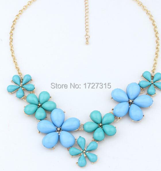 Free shipping Flower Bohemia chunky Retro boho Hot gem Crystal Statement Necklace Bib weddding Party Jewelery Necklace(China (Mainland))