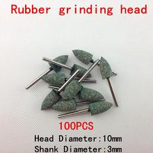 Lijadora de banda herramientas de diamante 100 unids Hot New ruedas de goma Flint Aberdeen cónico Head diámetro 10 mm de Metal pulido de pulido 3 * 10 mm