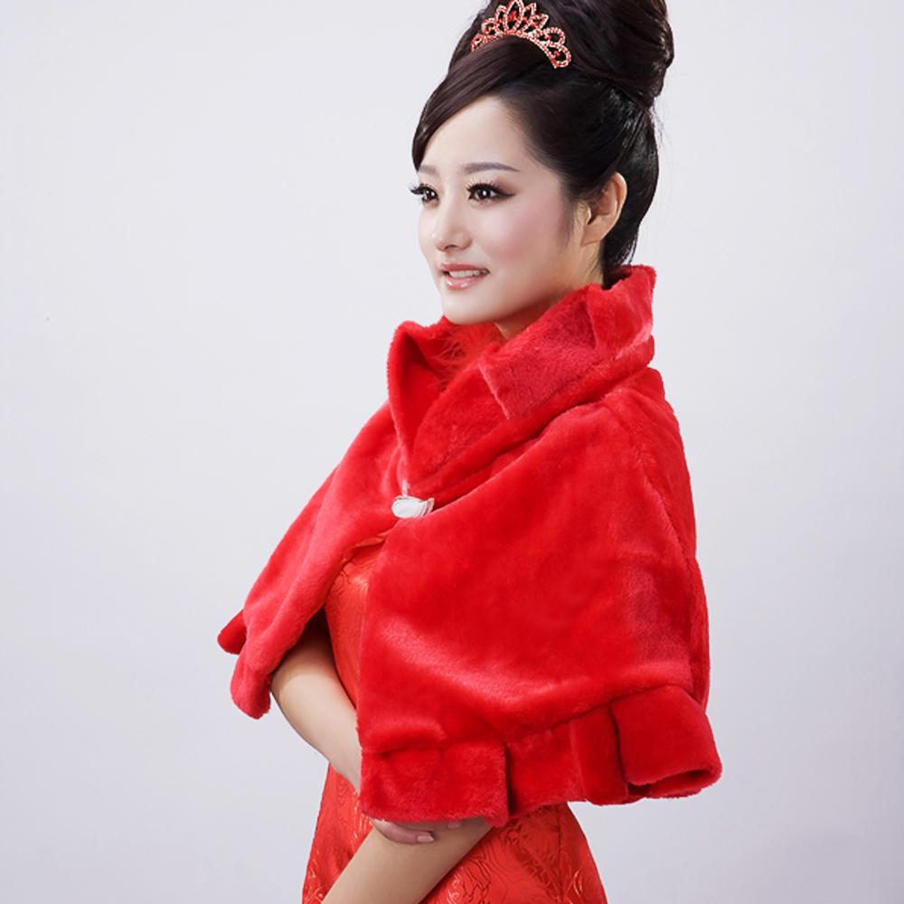 2013 bride fur shawl red fashion large cloak exteravagant plush cape(China (Mainland))