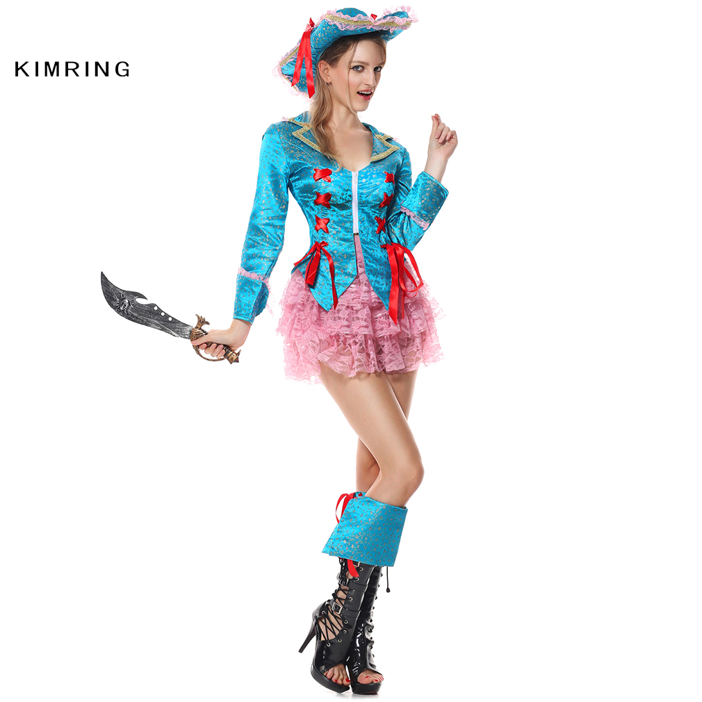 Kimring Sexy Caribbean Pirate Halloween Costume Cosplay Deluxe Fantasia Fancy Dress Pirate Hat Adult Carnival Costume DressWomen(China (Mainland))
