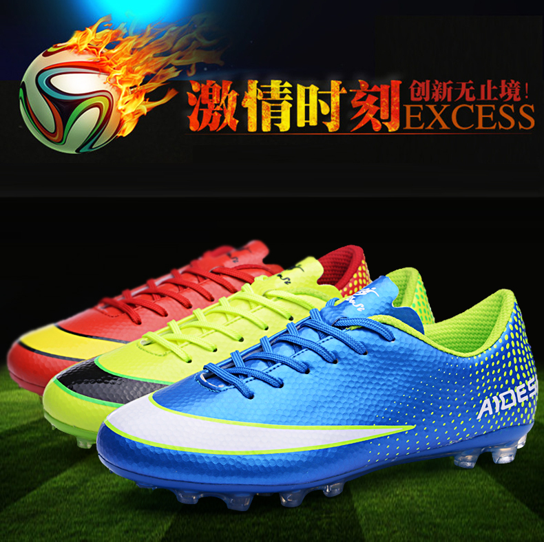 Free shipping, football shoes AG nails, men's football shoes, green, blue football shoes, Ladies Red football shoes size: 36-44(China (Mainland))