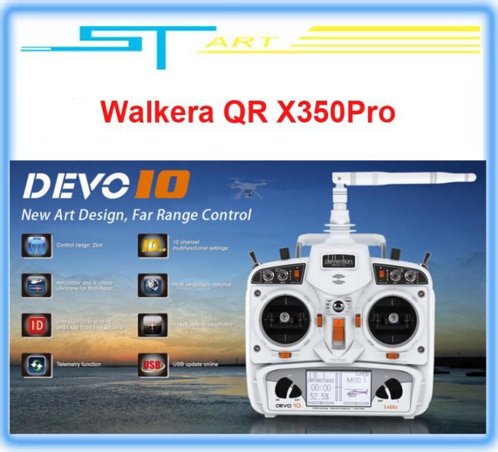 Drop shipping Original Walkera DEVO 10ch Transmitter 2.4Ghz  Radio System RX1002 Receiver for WALKERA Drone QR X350 Pro FPV <br><br>Aliexpress
