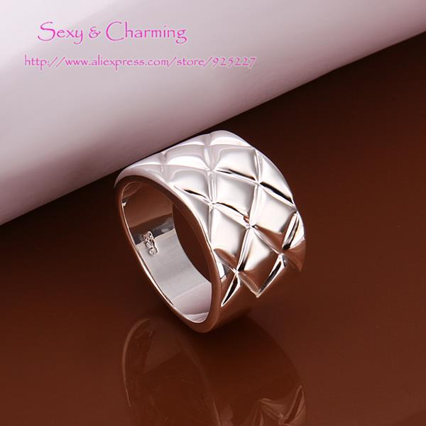 R290 free shipping Silver Plated font b chequer b font unique finger rings size 8 fashion