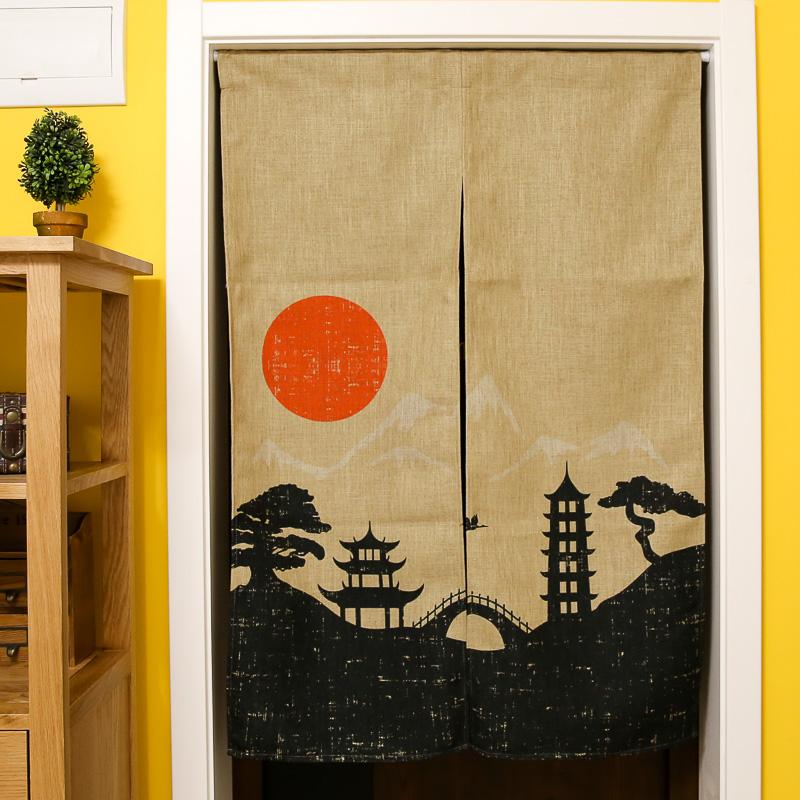 japan style cotone lino tende porta bella scenic sole rosso stampe cucinacamera da letto