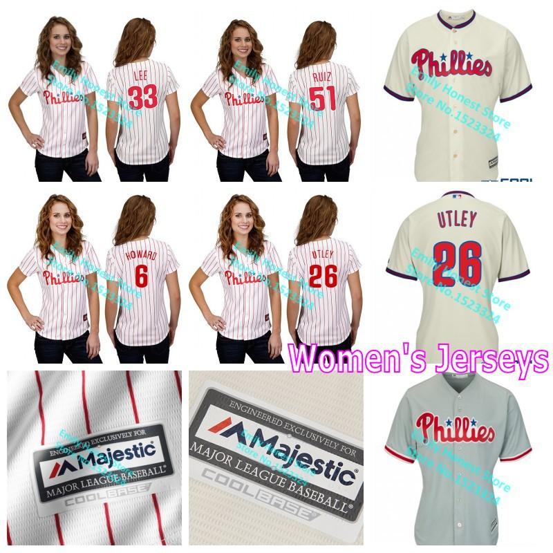 Philadelphia Phillies 33# Cliff Lee 6# Ryan Howard 26# Chase Utley 51# Carlos Ruiz stitched Baseball Jersey women MLB Jerseys(China (Mainland))