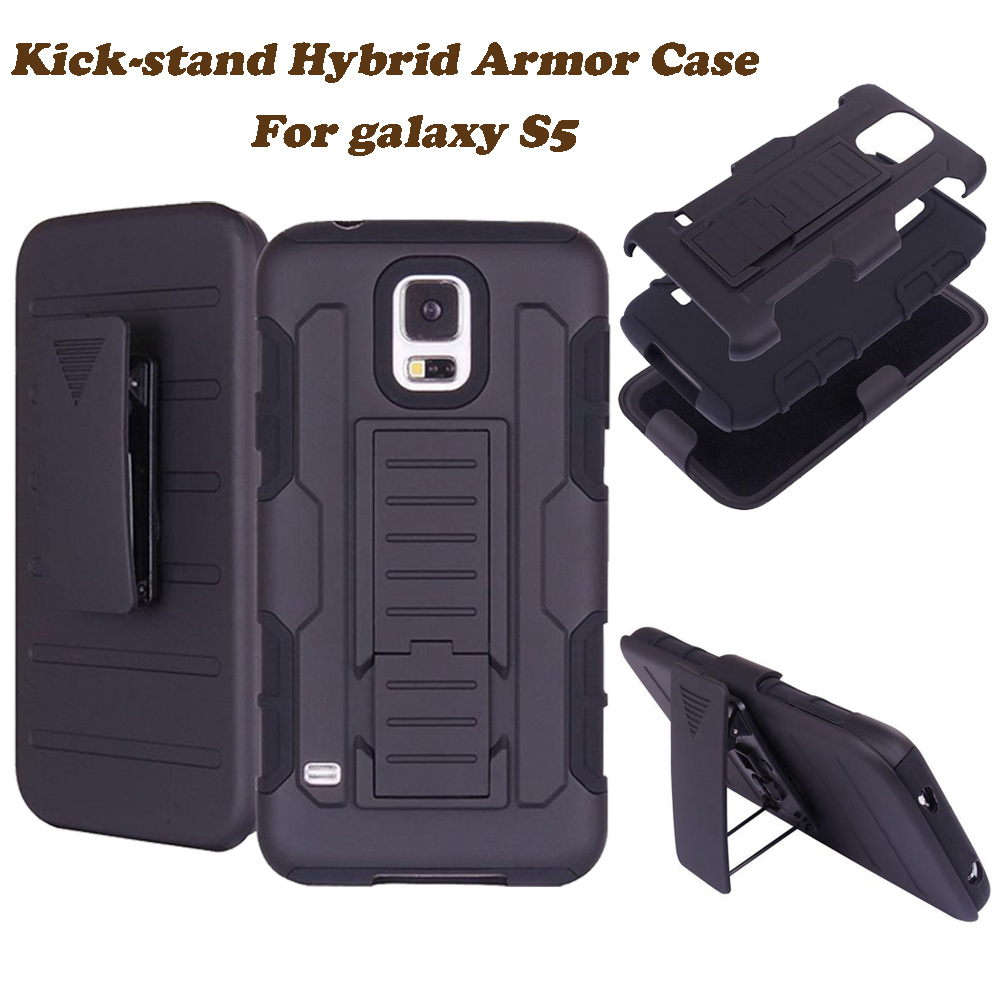 """2 in 1 Impact Black Armor Hybrid Case With Belt Swivel Clip Stand for Samsung Galaxy S5 SV I9600 S 5 5.1"""" Mobile Phone Cover(China (Mainland))"""