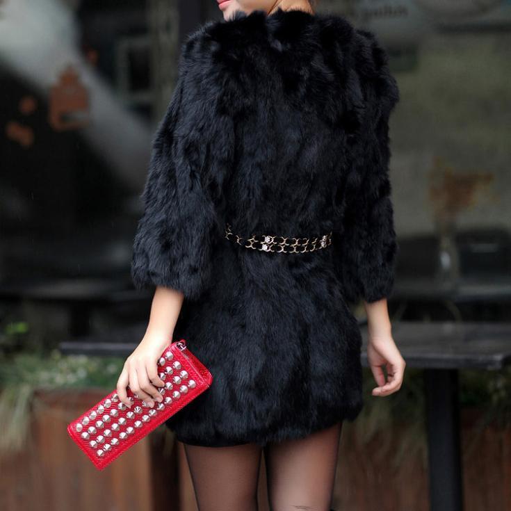 Настоящее естественная кроличий мех пальто зима тёплый кроличий мех куртка Nice кроличий мех верхней одежды