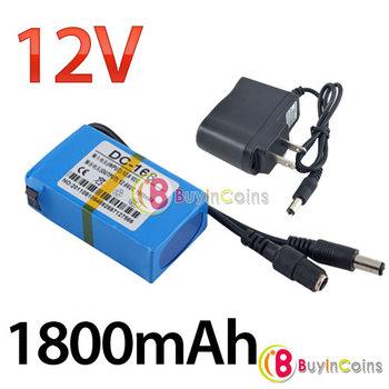 Portable 12V Li-po Super Rechargeable Battery Pack DC for CCTV Camera 1800mAh[8993|01|01]