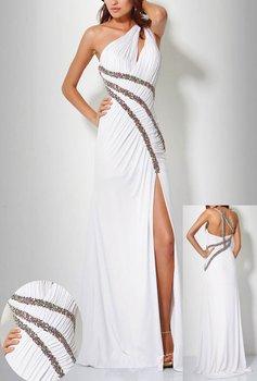 stretch fabirc Pleat and Beading Handwork one shoulder Formal dress OL101865